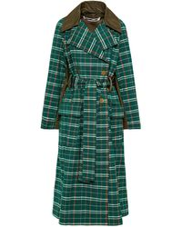 McQ Oversized Shell-paneled Checked Wool And Cotton-blend Trench Coat - Green