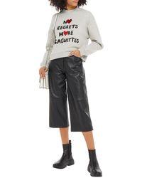 Être Cécile Être Cécile Alexis No Regrets More Baguettes Printed Cotton-fleece Sweatshirt - Grey