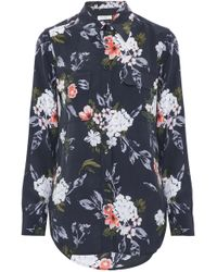Equipment - Signature Floral-print Washed-silk Shirt Midnight Blue - Lyst