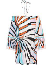 Emilio Pucci - Off-the-shoulder Printed Silk Crepe De Chine Top Lavender - Lyst