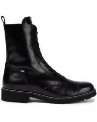 Theory Combat boots aus glanzleder - Schwarz