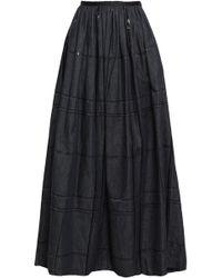 Brunello Cucinelli - Woman Sequin-embellished Gathered Denim Maxi Skirt Dark Denim - Lyst