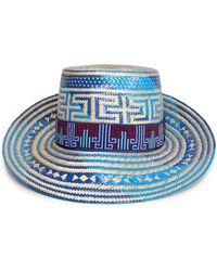 Yosuzi Elise Embellished Straw Sunhat Blue