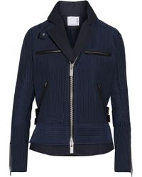 Sacai Hickory Twill-trimmed Striped Cotton-canvas Peplum Jacket - Blue