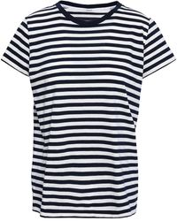 Zimmermann Striped Cotton-jersey T-shirt Navy - Blue