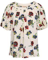 Ulla Johnson Celie Floral-print Cotton-poplin Top - White