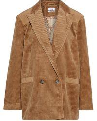Ganni Doppelreihiger blazer aus baumwollcord mit shell-einsätzen - Braun