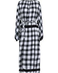 Tibi - Metallic Fringe-trimmed Gingham Cotton-blend Midi Dress - Lyst