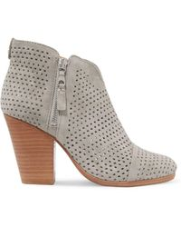 Rag & Bone   Margot Laser-cut Suede Ankle Boots Light Gray   Lyst