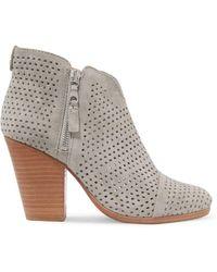 Rag & Bone - Margot Laser-cut Suede Ankle Boots - Lyst