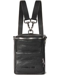 McQ Convertible Pebbled-leather Backpack Black
