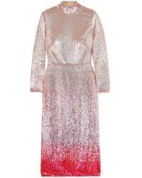 Temperley London Opia Open-back Dégradé Sequined Stretch-crepe Midi Dress Pastel Pink