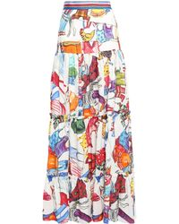 Stella Jean Tiered Ramie And Cotton-blend Maxi Skirt Multicolour