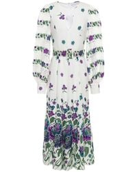 Andrew Gn Belted Cutout Floral-print Silk-blend Crepe Midi Dress - White