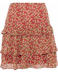 Rebecca Minkoff - Printed Ruffled Chiffon Mini Skirt - Lyst