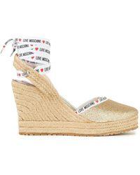 Love Moschino Monogram-trimmed Glittered Woven Espadrille Sandals - Metallic
