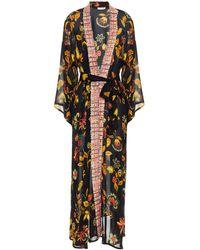 Anjuna Kandela Jacquard-trimmed Printed Voile Kimono - Black