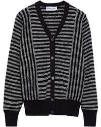 Sonia Rykiel Striped Silk And Cotton-blend Cardigan Black