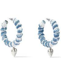 DANNIJO Lou Oxidized Silver-plated, Denim And Lace Hoop Earrings Light Denim - Blue