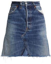 Levi's - Frayed High-rise Denim Mini Skirt - Lyst