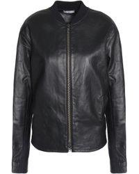 Vince - Leather Bomber Jacket Black - Lyst