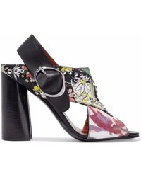 3.1 Phillip Lim - Leather-trimmed Studded Printed Crepe And Twill Sandals - Lyst