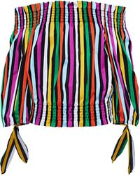 Caroline Constas - Lou Off-the-shoulder Striped Cotton-twill Top Multicolor - Lyst