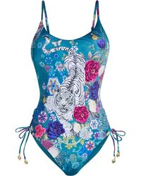 Camilla Crystal-embellished Printed Swimsuit - Blue