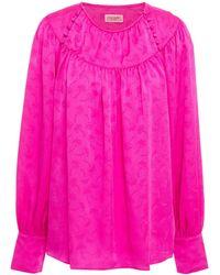 Kate Spade Gathered Floral-jacquard Blouse Bright Pink