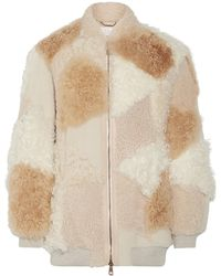 Chloé Chloé Oversized Patchwork Shearling And Alpaca Bomber Jacket Beige - Natural