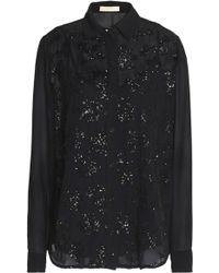 MICHAEL Michael Kors - Sequin-embellished Crepe De Chine Shirt - Lyst