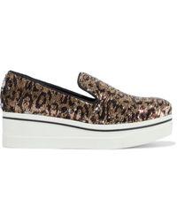 Stella McCartney Binx Star Leopard-print Sequined Woven Platform Slip-on Sneakers Animal Print - Multicolor