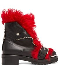 Alexander McQueen - Shearling-trimmed Leather Ankle Boots - Lyst