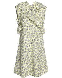 Marni - Ruffle-trimmed Floral-print Cotton-poplin Dress - Lyst