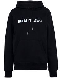 Helmut Lang Helmut Laws Printed French Cotton-terry Hoodie Black