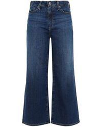AG Jeans Cropped High-rise Wide-leg Jeans Dark Denim - Blue