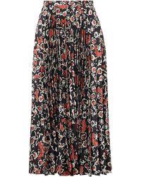 Saloni Kim Pleated Floral-print Satin-jacquard Midi Skirt - Black