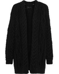 Maje Mouffle Cable-knit Wool-blend Cardigan Black