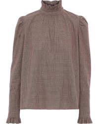 Goen.J Ruffle-trimmed Checked Cotton Blouse Brown