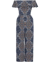 L'Agence - Off-the-shoulder Floral-print Silk-crepe De Chine Jumpsuit - Lyst
