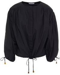 Rodebjer Breeze Gathered Cotton-poplin Top - Black