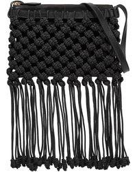 Ulla Johnson Rio Macramé And Leather Shoulder Bag Black