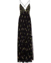 Ba&sh Masha Open-back Tiered Floral-print Georgette Maxi Dress - Black