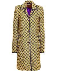 Missoni Checked Metallic Crochet-knit Coat Yellow