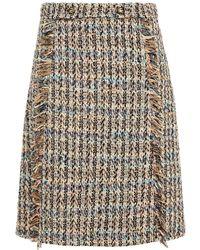 Etro Frayed Cotton-blend Tweed Skirt - Natural