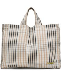 Ganni - Woman Phillips Embroidered Checked Cotton Tote Sand - Lyst