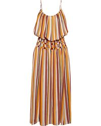 FRAME Smocked Waist Stripe Silk Midi Dress - Orange