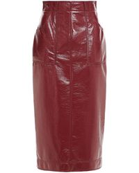 Philosophy Di Lorenzo Serafini Crinkled Faux Leather Midi Skirt - Red