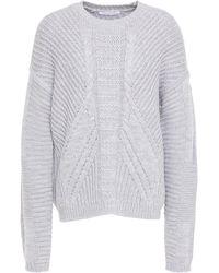 Duffy Cable-knit Merino Wool Sweater Light Gray