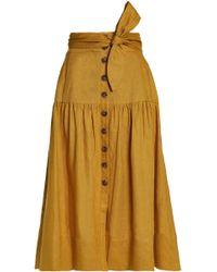 Sea - Belted Gathered Linen Midi Skirt - Lyst